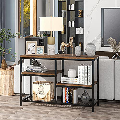 SOSTUDIO Mesa consola de sofá con estantes de almacenamiento, mesa industrial de 4 niveles para sala de estar, entrada, pasillo, pasillo con aspecto de madera, fácil montaje (marrón1)