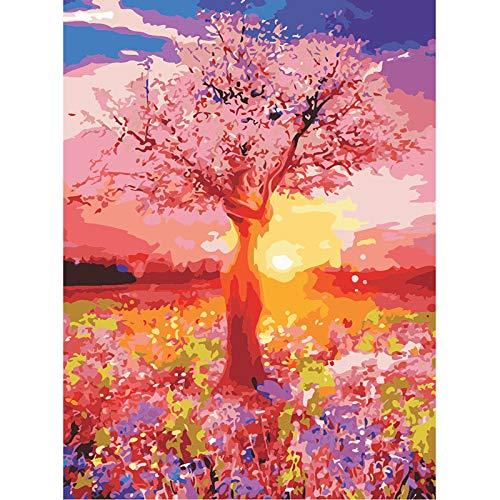 yaonuli Pintura Paisaje Abstracto árbol DIY Pintura Digital Lienzo de Arte único decoración del hogar Regalo 40x50 cm Sin Marco