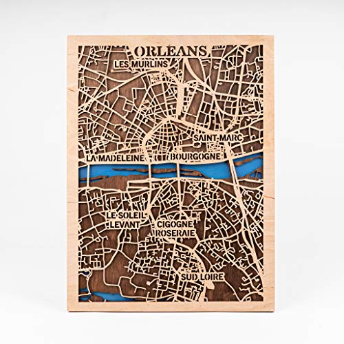 Orleans 3D Wooden Map Small Scale Map Art Orleans Wooden Decor France Wall Art Birthday Gift for Woman 3D Wooden City Map Orleans Wooden Decor Xmas Gift for Girl City Wooden Map (Large)