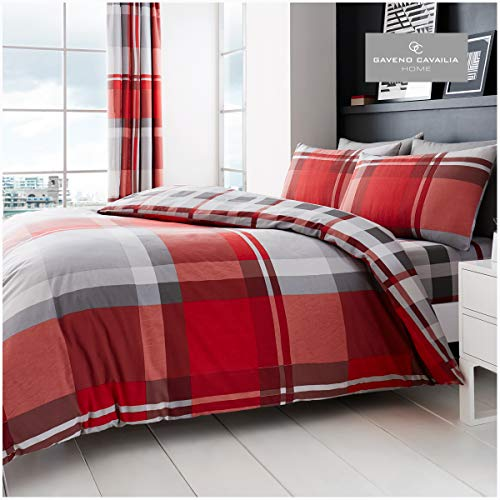 Gaveno Cavailia Luxurious WAVERLY CHECK Bed Set with Duvet Cover and Pillow Case, Polyester-Cotton, Red, Double