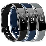 Vancle Pack de 3 correas compatibles con Fitbit Inspire HR y Fitbit Inspire pulsera de repuesto de silicona deportiva para Fitbit Inspire/Inspire HR (negro/azul marino/gris, S)