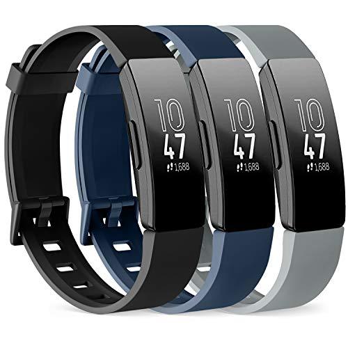 Vancle 3 Pack Kompatibel für Fitbit Inspire HR Armband & Fitbit Inspire Armband, Silikon Sport Ersatzarmband für Fitbit Inspire/Inspire HR (Schwarz/Marine Blau/Grau, S)