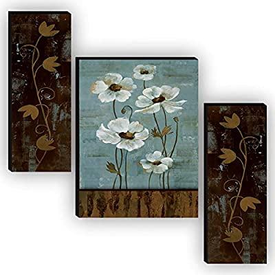 SAF Set of 3 Beautiful Flower UV Textured Home Decorative Gift Item MDF Painting 12 Inch X 18 Inch SAF-JMS6491