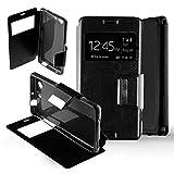 Sony Xperia Z - Funda con tapa para Sony Xperia Z3 compact, color negro