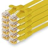 1CONN - 1,5 m cavo di rete Ethernet, LAN e patch per la massima velocità internet e collega tutti i dispositivi con presa RJ 45 giallo - 10 pezzi