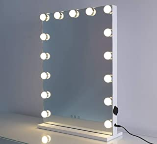 MAYLAN LED Lighted Makeup Vanity Mirror Hollywood Style Tabletop Mirrors for Makeup Dressing Table with 15 Dimmable Light