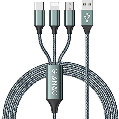 Multi Cavo di Ricarica, [1.2M] 3 in 1 Multiplo Cavetto Micro USB Tipo C Nylon Intrecciato Cavo di Ricarica USB per Google Pixel,Samsung Galaxy,Huawei,Honor,Xiaomi,Nexus 6P-Green