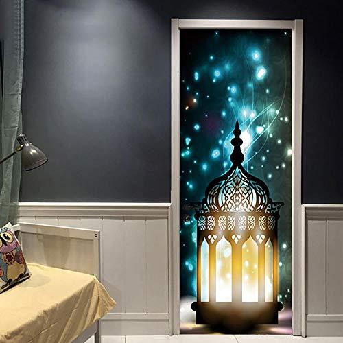 Wnyun DIY 3D Deur Sticker PVC DIY Creatieve Home Decor Canvas Print Arabia Lantaarn Foto Moderne Milieubescherming Zelfklevende Waterdichtheid-77x200cm