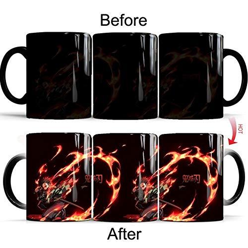 Lunanana Demon Slayer Kimetsu no Yaiba - Taza de café de cerámica sensible al calor que cambia de color para la oficina o la taza de beber, regalo, cerámica, h01