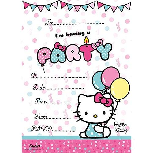 Hello Kitty 20Einladungskarten mit Umschlägen