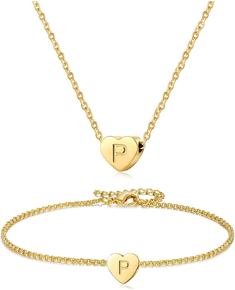 WLL Tiny Gold Initial Heart Necklace Bracelet for Women - Dainty Personalized Letter Heart Choker Necklace Gifts for Girls Jewelry Set