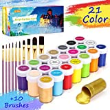 Gifort Set di Colori Acrilici per Dipingere, Set Pittura Acrilica da 21 X 20 ML con 10 Pennellin, Non Tossico & Colori Brillanti, Sicuro per Bambini, per Carta, Roccia, Legno, Ceramica