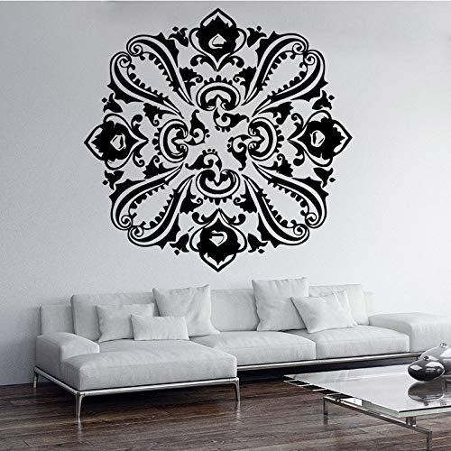 Pfau Blumenmuster Wandaufkleber für Wohnzimmer Schlafzimmer Moderne Wandaufkleber Home Decoration Aufkleber Wandbilder Schwarz L 43cm X 42cm