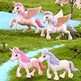 Ruzucoda Miniature Unicorn Horse Figurines Animal Figure Figurine Fairy Garden Decorations 4 PCS