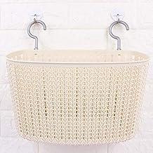The New Woven Storage Basket , Hangable Kitchen Plastic Woven Plastic Storage Basket Creative Rattan Drain Water Woven Bas...