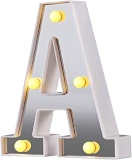 LED Marquee Letter Lights, 26 Alphabet Light Up Letters Sign Perfect for Night Light Wedding Birthday Party Christmas Lamp Home Bar Decoration (Silver,A)