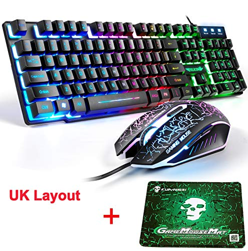 LexonElec T8 UK Layout Gaming-Tastatur und -Maus Sets Rainbow Backlit Ergonomische USB-Gaming-Tastatur + 2400 DPI 6 Tasten Optische Regenbogen-LED-USB-Gaming-Maus + KOSTENLOSE Gaming-Mauspads