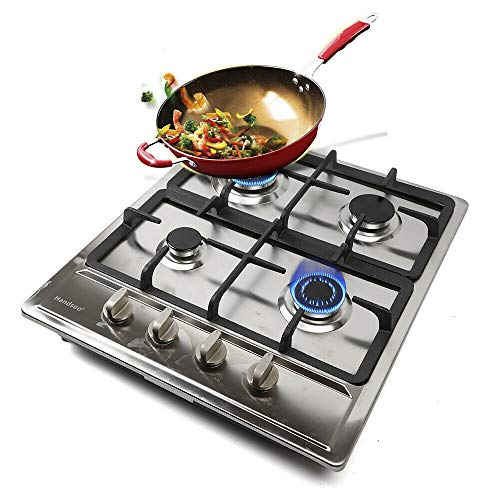 DENESTUS 4 in 1 Gas Cooktop Burners Built In Stove Stainless Steel Tools Hob NG LPG Gas Tempered Kitchen Easy to Clean…