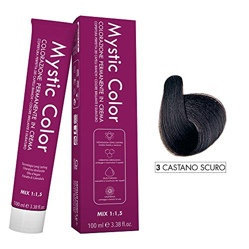 Mystic Color - Crème Colorante Permanente à l'Huile d'Argan et au Calendula - Coloration Longue Durée - Couleur Brun Foncé 3 - 100ml