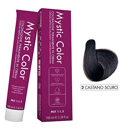 Mystic Color - Crème Colorante Permanente à l'Huile d'Argan et au Calendula - Coloration Longue Durée - Couleur Brun Foncé 3-100ml
