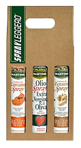 SPRAYLEGGERO Confezione Regalo spray: olio extravergine d'oliva, condimento allo zenzero e alla curcuma