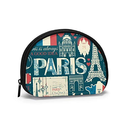 Coin Purse France and Paris Tower Romantic Small Coin Pouch Canvas Wallet Portable Shell Storage Bag for Women Girls