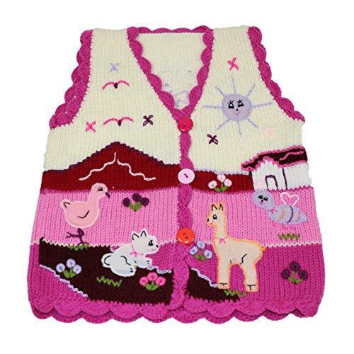 Sunny Times Sunny Times - Kinder Strick Weste aus Peru, handgefertigt aus Wolle, Größe 74 - 104, (86/92, Creme/Pinklila)