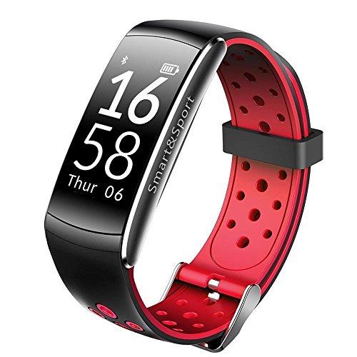 Bluetooth Smart Watch mit LED-Touchscreen Smart-Uhr Runde wasserdicht mit Pulsmesser, Blutdruck, Schlaf-Monitor, Schrittzähler, für IOS und Android-Gerät