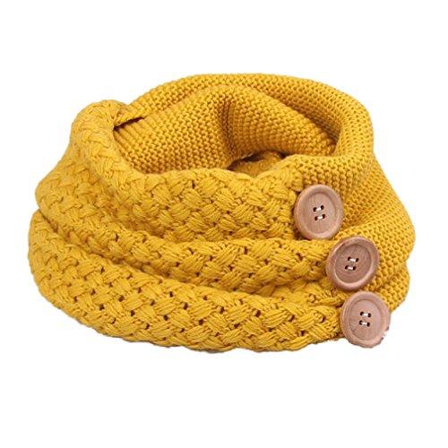 Kfnire bufanda mujer invierno suave tejer círculo lazo bufanda con sujetador (amarillo)
