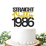 Black Golden Glitter Straight Outta 1986 Cake Topper, Happy 35th Birthday Cake Decoration, Birthday / Wedding Anniversary Party Supplies for Women or Men(Double Color)