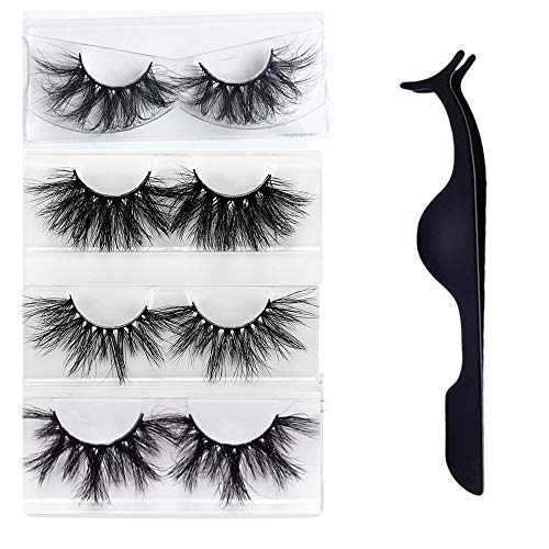 Rinov Wispies Fluffies Criss-cross Thick Long 3D Faux Mink Hair Eye Lash Extension 25mm lashes False Eyelashes With Tweezer (set1)