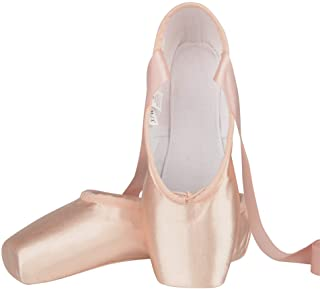 Bezioner Ballet Pointe Shoes Pink Satin Ballet Dance Shoes with Sewed Ribbon and Silicone Toe Pads for Girls Women