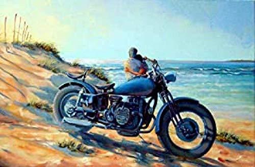 WOMGD® Koppel knuffelen door motorfiets en kust puzzel, houten puzzels 1000 stuk, educatief spel moeilijke uitdaging puzzel voor kinderen volwassenen