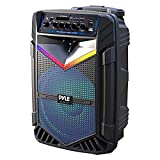 """Portable Bluetooth PA Speaker System - 1200W Rechargeable Outdoor Bluetooth Speaker Portable PA System w/ 15"""" Subwoofer 1"""" Tweeter, Recording Function Mic In Party Lights USB/SD Radio - Pyle PPHP1542B"""