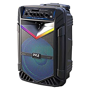 """Portable Bluetooth PA Speaker System - 1200W Rechargeable Outdoor Bluetooth Speaker Portable PA System w/ 15"""" Subwoofer 1"""" Tweeter Recording Function Mic In Party Lights USB/SD Radio - Pyle PPHP1542B"""