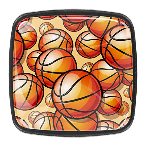 [4 unidades] pomos de cristal para cajones con diseño de baloncesto deportivo pintado.