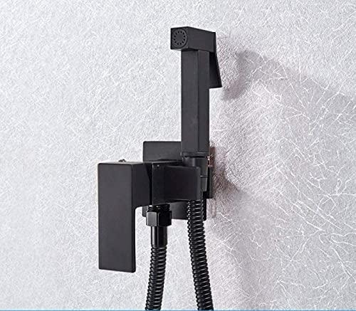 Ducha de baño Sistema de Ducha Bidé Negro Mate Grifo de bidé de latón Macizo Grifo Mezclador de Agua fría Caliente Grifos de Inodoro, A01
