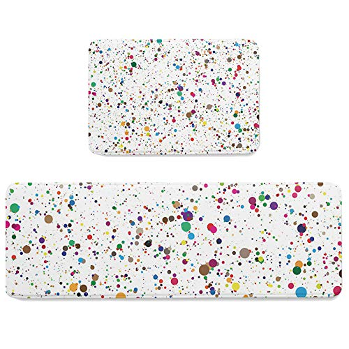 2Pcs Colorful Dots Kitchen Mat, Anti Fatigue Comfort Mats for Kitchen Floor, Waterproof Non Skid Standing Rug Set 19.7x31.5in+19.7x63in Abstract Watercolor Splash Ink