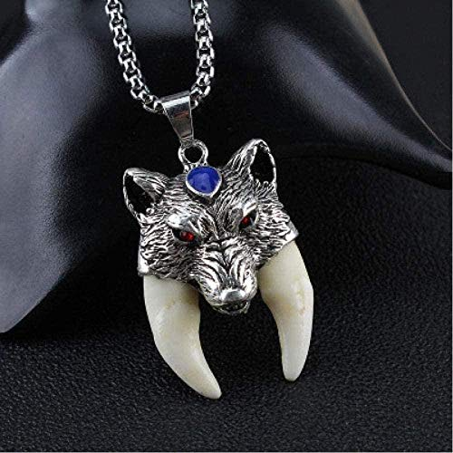 ZPPYMXGZ Co.,ltd Collar de Moda para Hombres Valientes auténtico Lobo GOG Colgante de Dientes Collar Mujeres Hombres joyería Croc Diente Amuleto Collar Estilo