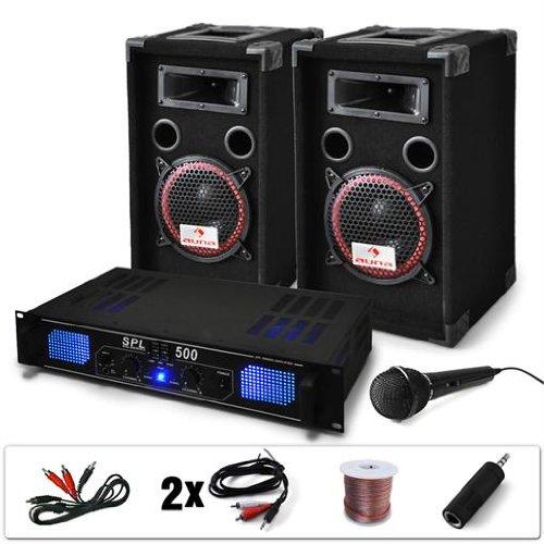 DJ-14 Equipo de Sonido Profesional PA 500W (Amplificador Potencia...