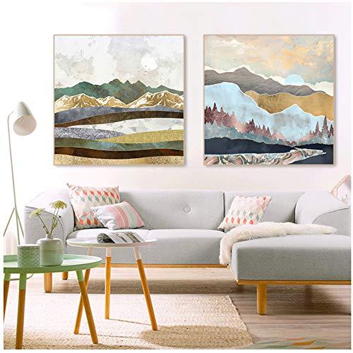 Canvas Schilderij Abstracte Winter Spacefrog Impressionistische Muur Foto Posters Prints voor Woonkamer Woondecoratie 20x20cm (7.8