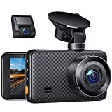 2.5K Dash Cam Front and Rear for Cars, Dual Dashboard Cameras with IR Sensor Night Vision, Car Driving Recorder with 3' IPS Display, Motion Detection, Parking Monitor, Loop Recording, Support 128GB