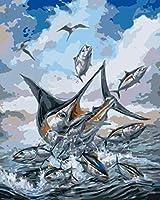 数字で描くキット16x 20インチキャンバスDiy油絵、ブラシとペイント、子供、学生、大人向け海の風景の魚
