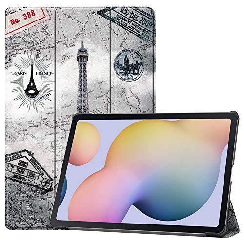 DWaybox PU Custodia in pelle per Samsung Galaxy Tab S7+ S7 Plus T970/T975/T976B con Auto Sleep/Wake Custodia protettiva magnetica Tripla pieghevole con supporto per molteplici angoli di visione -Torre
