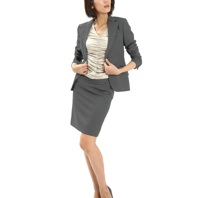 スカートスーツ リクルートスーツ レディススーツ グレー 就活 15号 上下別サイズ対応スーツ