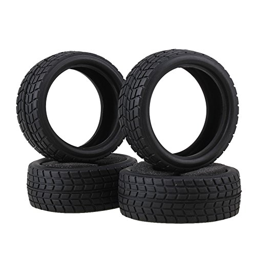 BQLZR Black RC 1:10 On-Road Racing Car Rhombic Pattern Tire Convenient Use Pack of 4