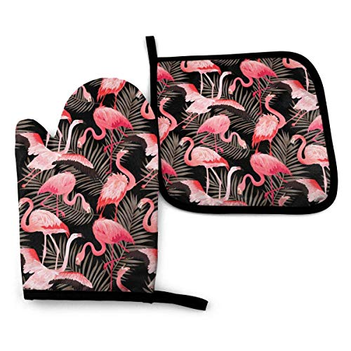 Flamigo Oven Mitts Extreme Heat Resistant Soft Cotton Lining Pot Holder Oven Gloves Set for Kitchen BBQ