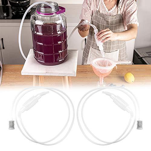 RMENOOR Siphonröhre 2 Stück Weinheber Kunststoff Wein Heberfiltersatz Siphon Rohr Schlauch Filter Lebensmittelqualitä Weinfilter mit Pumpe für Wein Bier Herstellung (1.97m)