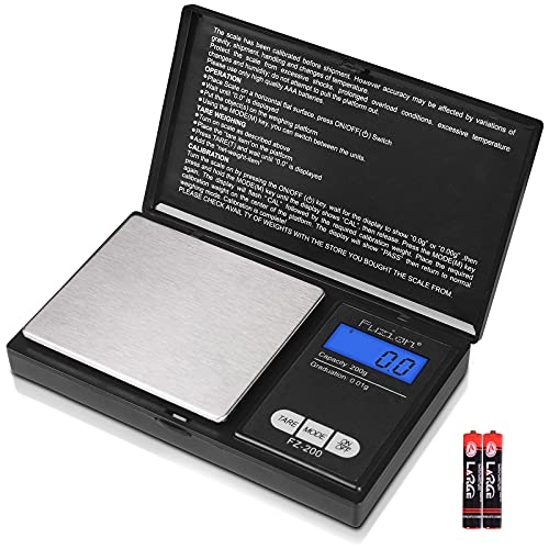 Fuzion Digital Pocket Scale, 200g 0.01g Mini Scale Gram and Ounce, Portable Travel Food Scale, Jewelry Scale with Back-Lit LCD, Stainless Steel, Tare, Battery Included
