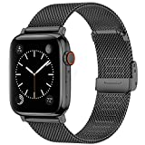 Swhatty Bands Compatible with Apple Watch Band 38mm 40mm for Women Men, Stainless Steel Milanese Mesh Loop Adjustable Strap Replacement for iWatch Series 6/5/4/3/2/1/SE, Black